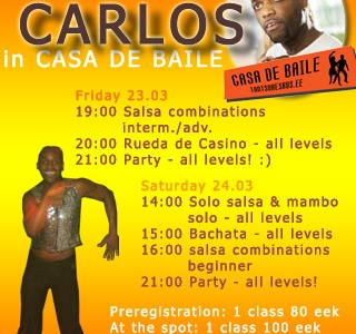 Carlos Correa Triana salsa-workshop 23-24 märtsil!